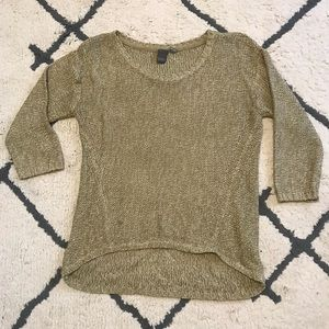 Scoop neck sweater with 3/4 length sleeves
